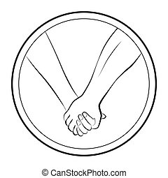 Händchen halten lieben ein rundes Logo