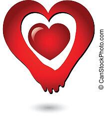 Händchen haltendes Liebes-Logo