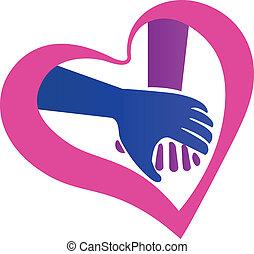 Händchen herzförmiges Logo.