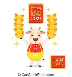 hände, 2021, glücklich, ochse, besitz, chinesisches , neu , gold, jahr