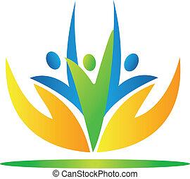 Hände, die sich um die Menschen kümmern, Logo vecto