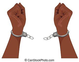 Hände eines afrikanischen Amerikaners, der Stahl Handschellen bricht.
