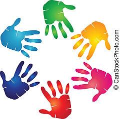 Hände farbenfrohes Logo