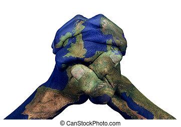 hände haben zugeschnallt, europa, (furnished, nasa), nachgebildet, landkarte