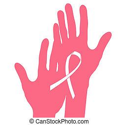 Hände halten Brustkrebsband, Vektor-Illustration.