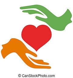 Hände halten das Herz.