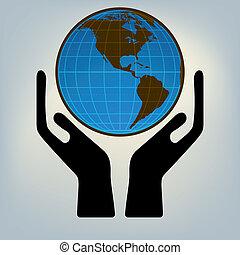 Hände halten die Welt. EPS 8