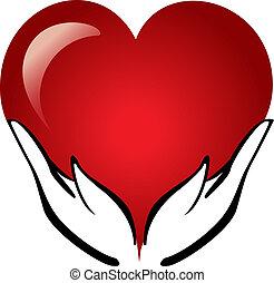 Hände halten ein Herz-Logo