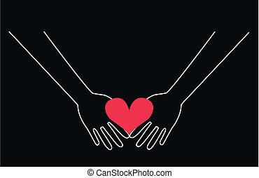 Hände halten ein Herz