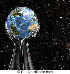 Hände halten Erde im Weltraum