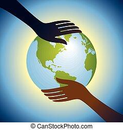 Hände halten Globus.