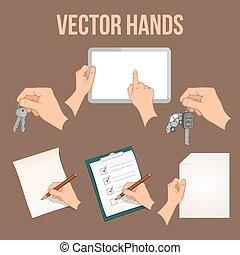 Hände halten Objekte fest.