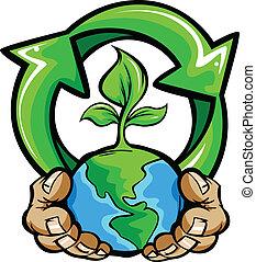 Hände halten Planet Erde