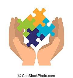 Hände heben das Puzzle an.