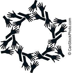 Hände kreisen. Konzept von Teamwork und Community