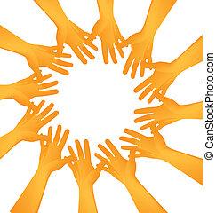 Hände machen einen Kreis.