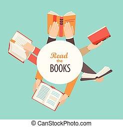 Hände mit Büchern.