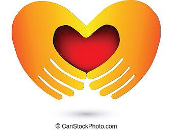 Hände mit einem roten Herz-Logo