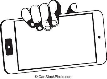 Hände mit einer Tablette berühren Computer-Gadget - schwarz-weiß.
