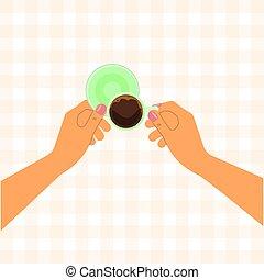 Hände mit einer Tasse