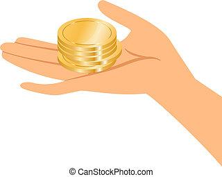 Hände mit Goldmünzen