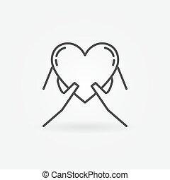 Hände mit Herz-Ikone.