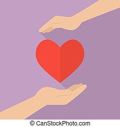 Hände mit Herz-Ikone