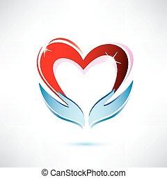 Hände mit Herz, Vektor-Icon, Liebes-Sharing-Konzept.