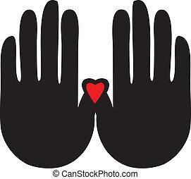 Hände mit Herzlogovektoren.