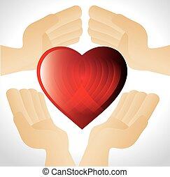 Hände mit rotem Herzen.