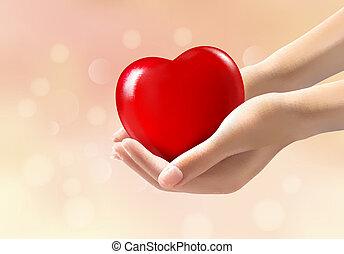 Hände mit rotem Herzen. Vector