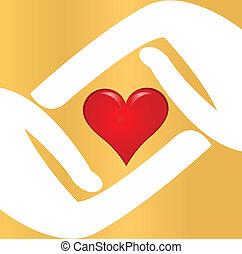 Hände mit rotem Herzlogo.