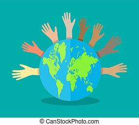 Hände mit verschiedenen Farben und Globus