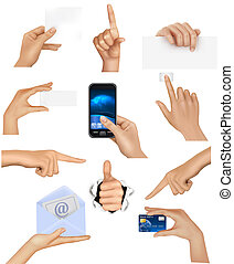 Hände mit verschiedenen Geschäftsobjekten. Vector Illustration
