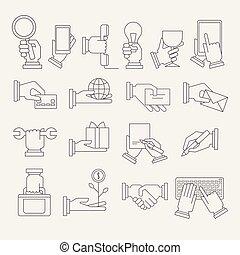 Hände mit verschiedenen Symbolen.