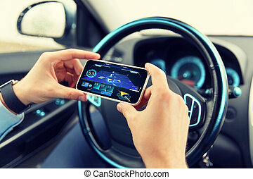 hände, navigationsoffizier, auto, smartphone