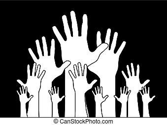 Hände reichen.