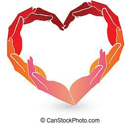 Hände rotes Herz-Logo.