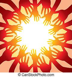 Hände um die heiße Sonne