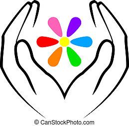 Hände und Blumen