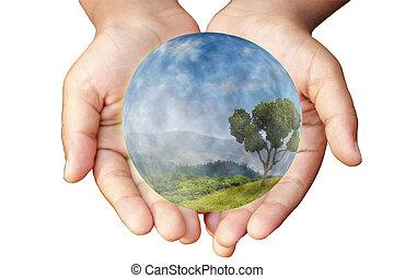 Hände und Erde. Das Konzept des Umweltschutzes.