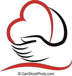 Hände und Herz lieben Logo-Vektor.