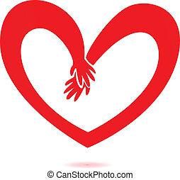 Hände und Herzliebe