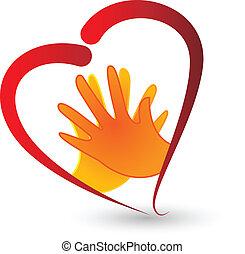Hände und Herzsymbol Ikonenvektor.