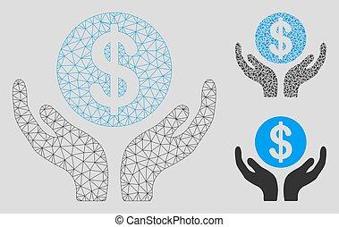 hände, vektor, wartung, dreieck, modell, 2d, masche, ikone, finanziell, mosaik