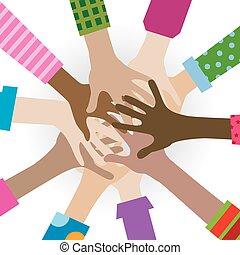 hände, verschieden, togetherness