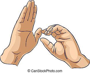 Hände zeigen eine ziehende Geste