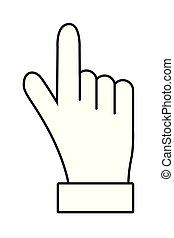Hände zeigen.