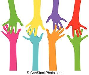 Hände zusammen.