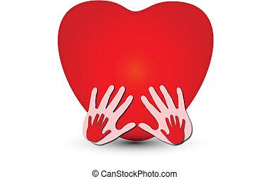 Hände zusammen mit einem Herz-Logo